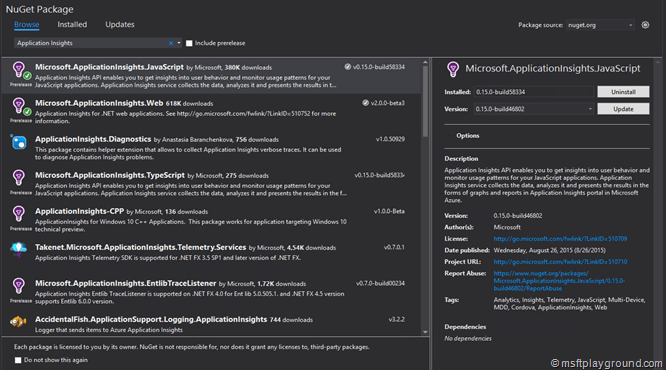 Application Insights Nuget Package