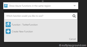 Azure Function Selection