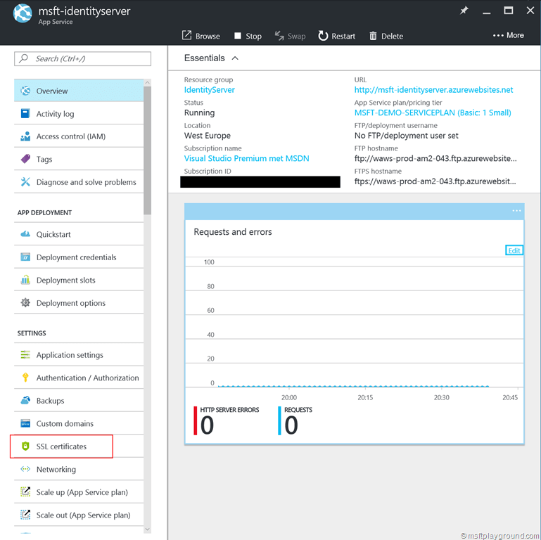 Using Certificates in Azure App Services - Microsoft Playground