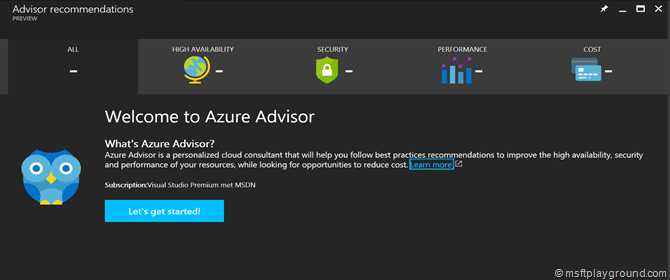 Welcome Azure Advisor