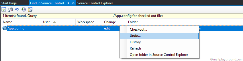 Undo Checkout within TFS or VSTS - Microsoft Playground