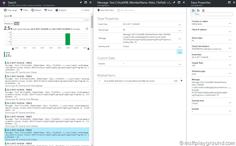 Application Insights Trace Output