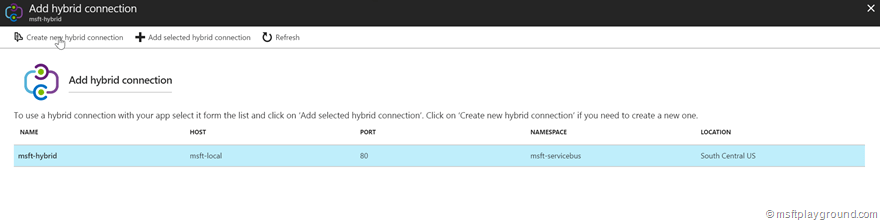 Add selected hybrid connection