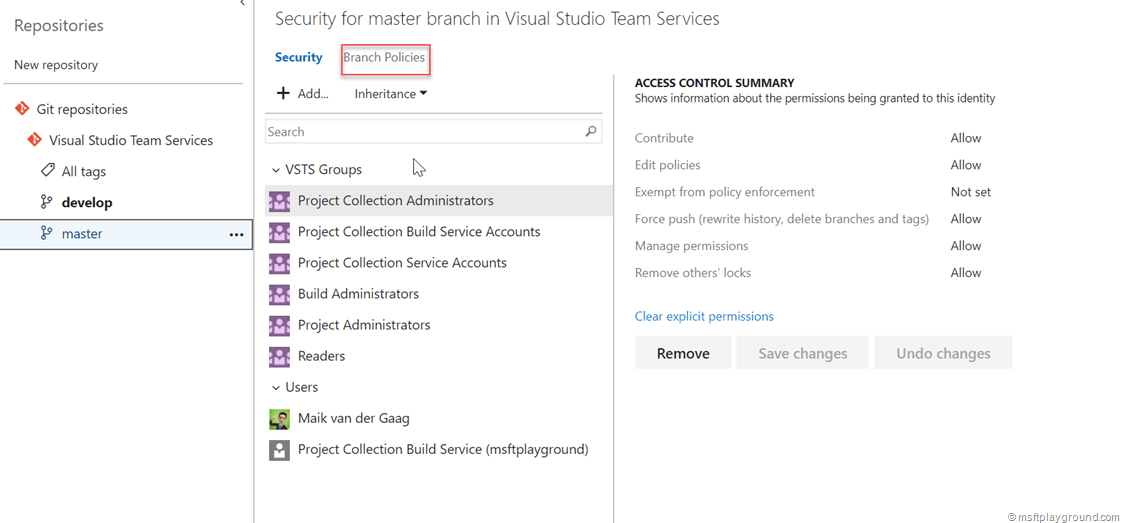 Protect your master Branch in VSTS - Microsoft Playground
