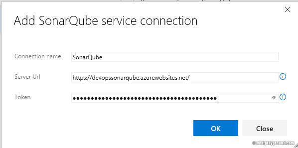 sonarqube service connection