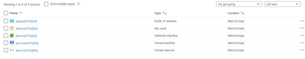 Showing 1 to 5 of 5 records. Name pkripwb7fcdjh8c pkrkvwb7fcdjh8c pkrniwb7fcdjh8c pkrvmwb7fcdjh8c pkrvnwb7fcdjh8c Shaw hidden types O Type Public IP address Key vault Neüvark interface Virtual machine Virtual network No grouping Location West Europe West Europe West Europe West Europe West Europe v List view