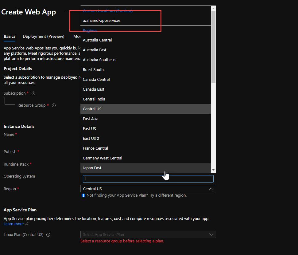 Custom location in Azure Portal